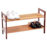 New Ridge Home Goods® 2-Tier Bamboo Shoe Rack in Brown