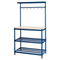 Design Ideas® MeshWorks 3-Shelf Utility Storage Rack with Wooden Top in Blue