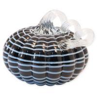 Boston International 5-Inch Striped Glass Pumpkin Decorative Accent in Black/White