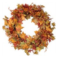 32-Inch Artificial Autumn Harvest Berries & Leaves Wreath