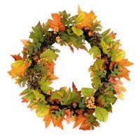 20-Inch Harvest Maple Leaf Decorative Wreath in Orange