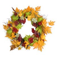 Northlight 22-Inch Maple Leaf Thanksgiving Floral Wreath