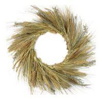 22-Inch Artificial Wheat, Grass & Grapevine Thanksgiving Wreath