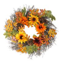 24-Inch Artificial Autumn Assortment & Sunflower Wreath