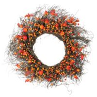 Northlight 24-Inch Artificial Harvest Berries, Twigs & Leaves Wreath