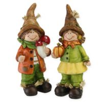 Northlight Decorative Boy and Girl Scarecrow Figurines in Yellow (Set of 2)