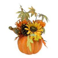Northlight 10-Inch Artificial Pumpkin with Sunflower and Mums