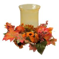 Northlight Sunflower and Pumpkin Thanksgiving Candle Holder in Orange