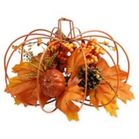 Northlight 12-Inch Artificial Maple Leaf and Berry Thanksgiving Pumpkin Decoration