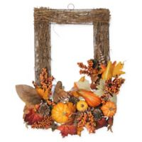 Northlight 17-Inch x 24-Inch Pumpkin Fall Foliage and Pine Cone Wall Frame in Brown