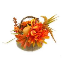 9-Inch Burlap Pumpkin with Flowers and Fruit