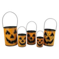 Gerson Jack-O-Lantern Candle Holders in Orange (Set of 5)