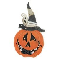 25-Inch Standing Wood Pumpkin in Black with Clear LED Lights