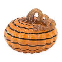 Boston International 5-Inch Striped Glass Pumpkin in Orange/Black