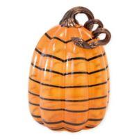 Boston International 9-Inch Striped Glass Pumpkin in Orange/Black