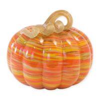Boston International 7-Inch Swirl Glass Pumpkin in Orange/Yellow