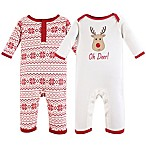 Hudson Baby® Size 3-6M 2-Pack Reindeer and Snowflakes Coveralls in Red