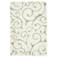 Unique Loom Carved Floral 4' x 6' Power-Loomed Area Rug in Ivory