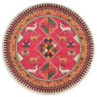 Unique Loom Eden 6' Round Indoor/Outdoor Area Rug in Pink