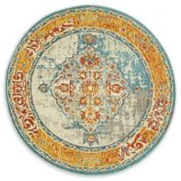 DaVinci Arte 4' Round Area Rug in Blue