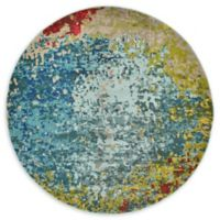 Cyprus Barcelona 6' Round Area Rug in Blue