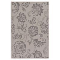 Floral 5' x 8' Indoor/Outdoor Area Rug in Grey