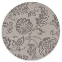 Floral 6' Indoor/Outdoor Round Area Rug in Grey