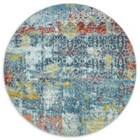 Unique Loom Alamar Havana 5' Round Area Rug in Blue