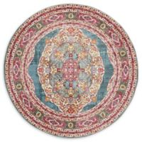 Unique Loom Castro Havana 5' Round Area Rug in Turquoise