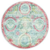 Unique Loom Havana 5' Round Area Rug in Turquoise/Pink