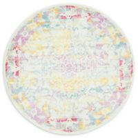 Unique Loom Fusterlandia Havana 5' Round Area Rug in Light Blue