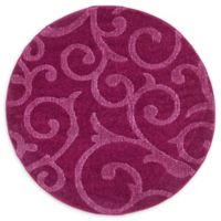 Floral Frieze 4' Round Area Rug in Violet