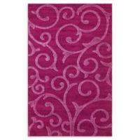 Floral Frieze 5' x 8' Area Rug in Violet