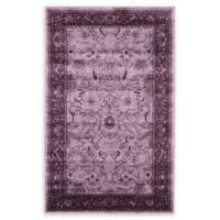 """Unique Loom Floral La Jolla 3'3"""" X 5'3"""" Powerloomed Area Rug in Purple"""