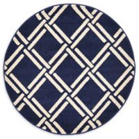Unique Loom Sacremento Trellis 3' Round Power-Loomed Accent Rug in Navy