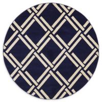 Unique Loom Sacremento Trellis 6' Round Power-Loomed Area Rug in Navy