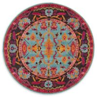 Unique Loom Flamenco Palazzo 6' Round Power-Loomed Area Rug in Light Blue