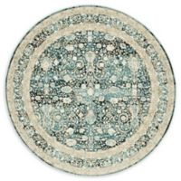 Unique Loom Coronado Cambridge 6' Round Power-Loomed Area Rug in Dark Blue