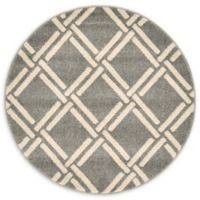 Unique Loom Detroit Trellis 3' Round Rug in Grey