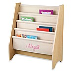 KidKraft® Personalized Girl's Sling Bookcase in Natural with Pink Lettering