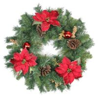 Northlight 24-Inch Poinsettia Berry and Pinecone Wreath