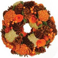 10-Inch Hydrangea Artificial Harvest Wreath in Orange