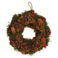 13-Inch Berry Pine Cone Artificial Christmas Wreath