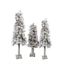 Northlight 3-Foot Pre-Lit Flocked Alpine Christmas Trees (Set of 3)