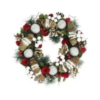 13.5-Inch Frosted Pine Cone Artificial Christmas Wreath