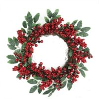 18-Inch 2-Tone Leaf Berry Artificial Christmas Wreath