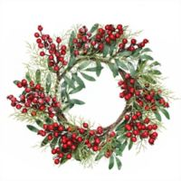 18-Inch Frosted Leaves Artificial Christmas Wreath