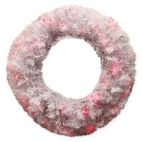 DAK 24-Inch Pre-Lit Cedar Wreath with Pink Lights