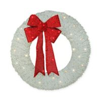 36-Inch Holographic Glitter LED Pre-Lit Artificial Christmas Wreath