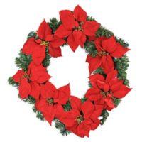 LB International 22-Inch Pre-Lit Poinsettia Wreath